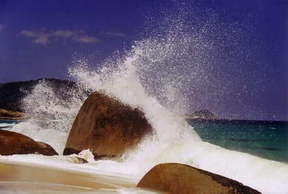 Waves beating against rocks